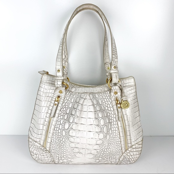 Brahmin Handbags - Brahmin White Vintage Leather Purse Shoulder Bag